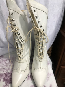 For Sale: 1 pair of leather  white  granny style  fashion boots