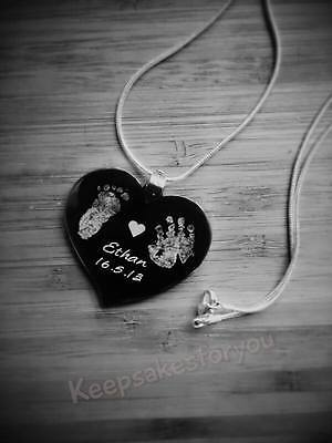 Custom made Footprint, Handprint & Text Engraved Heart Pendant With Chain