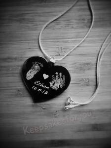 Personalised-Footprint-Handprint-Text-Engraved-Heart-Pendant-With-Chain