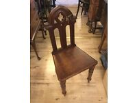 Antique Gothic style hall chair