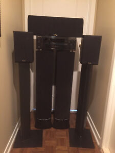 Pioneer High Def Receiver  Paradim Speakers and Stands