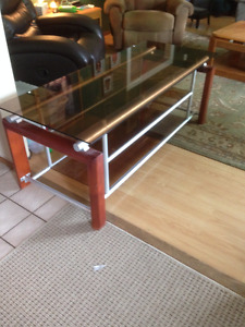 Glass top table and shelving unit
