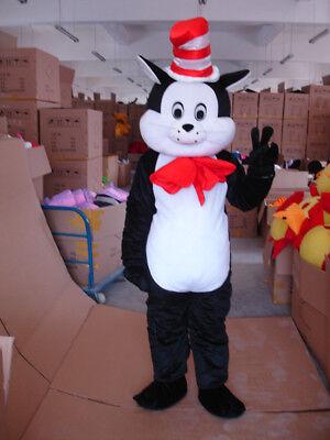 Halloween Dr.Seuss The Cat In The Hat Mascot Costume Black Cat Fancy Dress Adult