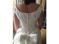 Stunning Ivory satin wedding dress size 14