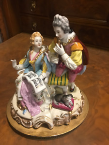 german porcelain figurine musicians with a dog
