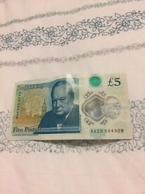 New Five Pound Note AA20 -FOR SALE
