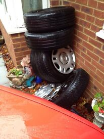5 stud 15 inch steel wheels with tyres.