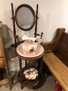 moving sale   antique stand with wash basin and pitcher