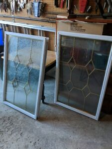 glass inserts for two doors.