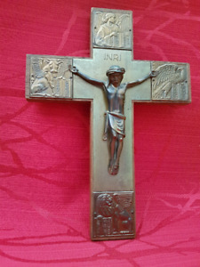 Ancien Crucifix INRI Vintage en laiton et bois