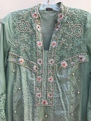 Sea Green Pakistani Designer Lace Embroided Kurti Shirt Tunic Pearls Rhinestones