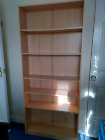 Tall sturdy wooden bookcase