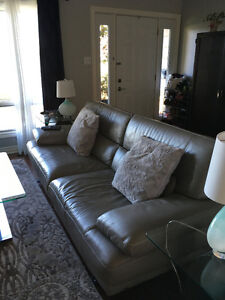 Natuzzi leather couch, arm chair and ottoman London Ontario image 1