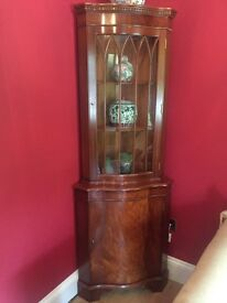 Mahogany Corner Display Cabinet