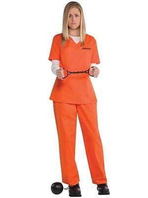 Womens Prisoner Costume Orange Inmate Convict Halloween Fancy Dress UK - Womens Fancy Dress Halloween Uk