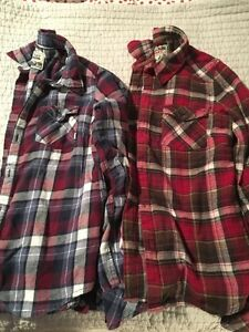 TNA button plaid shirt