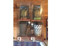 Ceramic Coffee travel mug set with coffee and syrup