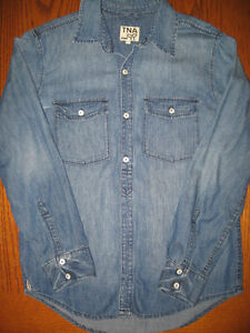 TNA DENIM BOYFRIEND SHIRT, SIZE XS