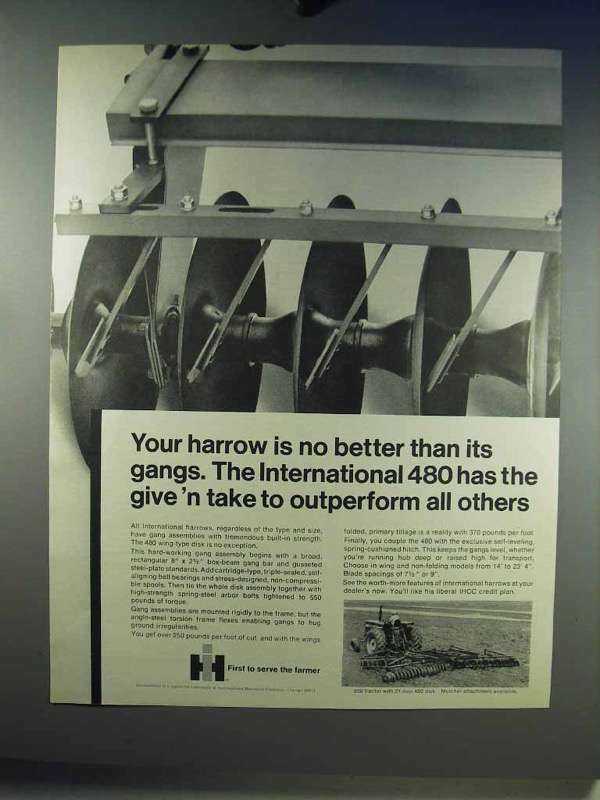 1968 IH International 480 Wing-type Disk Harrow Ad
