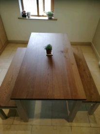 Ikea Kersajkrona, solid oak table and 2 benches