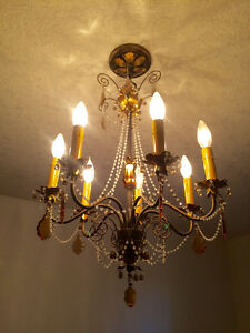 Delicate Chrystal and Ochre Glass Chandelier