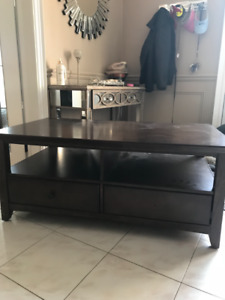 TV stand, wood, with 2 drawers.
