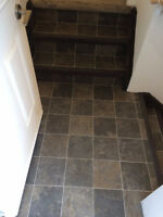 Linoleum rolls floor installation, installer over 25-year experi