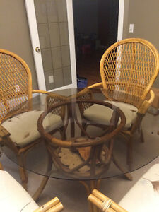 Wicker Table & Four Chairs