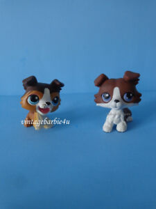 Littlest Pet Shop LPS Collie Dog Lot #237 #1542 Blue Purple Eyes