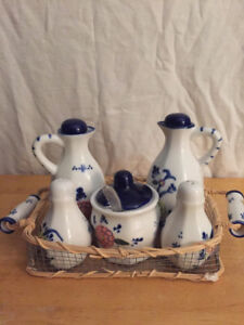 Cream, sugar, salt and pepper set