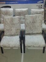 6 Metal Patio chairs with full cushions.