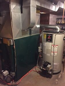 Oil Furnace with Newer Oil Tank and Hot Water Tank