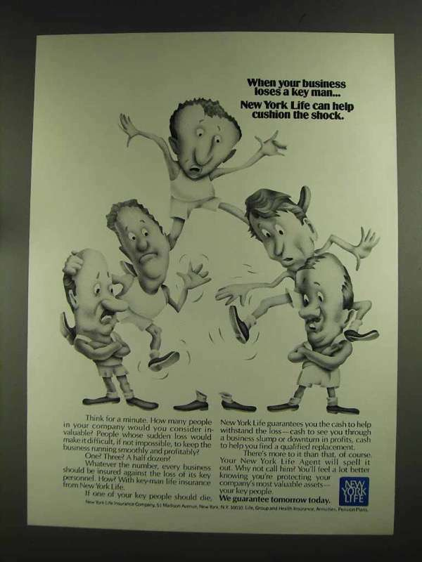 1972 New York Life Insurance AD - Loses a Key Man