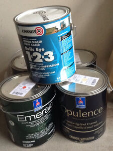 5 full paint cans and extension pole