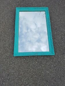 Vintage Distressed Turquoise Wall Mirror