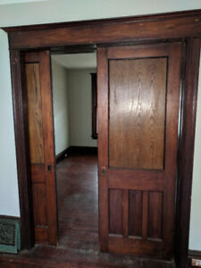 Old style wooden pocket sliding doors & vents