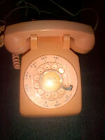 1950's  ORIGINAL HEAVY ROTARY DIAL PINK PHONE