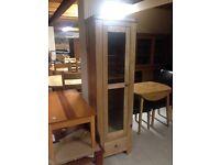 Oak glass display cabinet
