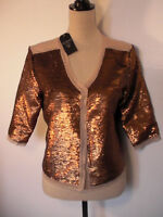 Guess Los Angeles Cocktail Brown Gold Metallic Jacket - size Sma