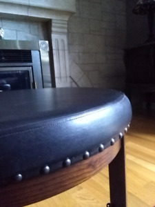 Leather and wood ottoman pouf coffee table basse