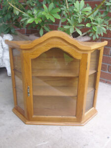 FIRST $85 TAKES IT~ Vintage French Oak Wood Curio Cabinet ~