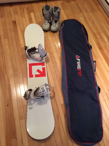 Snowboard with Fixations, Boots and Board Sack (Bag)