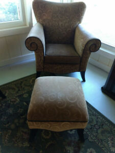 Gold Wing Back Chairs and Ottoman