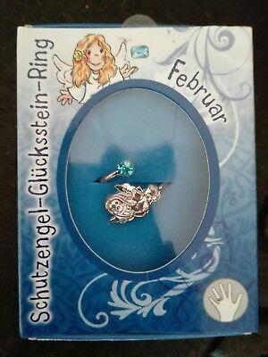 Schutzengel Glücksstein Ring Geburtsmonat Februar Aquamarin