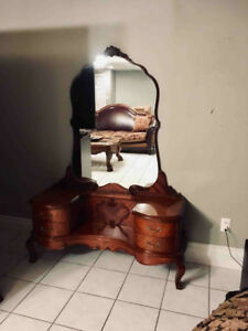 FURNITURE FOR SALE: CHAIRS, BAR STOOLS, MAKE-UP VANITY, CREDENZA