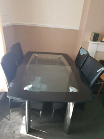 2 tier tempered glass 6 seater dining table