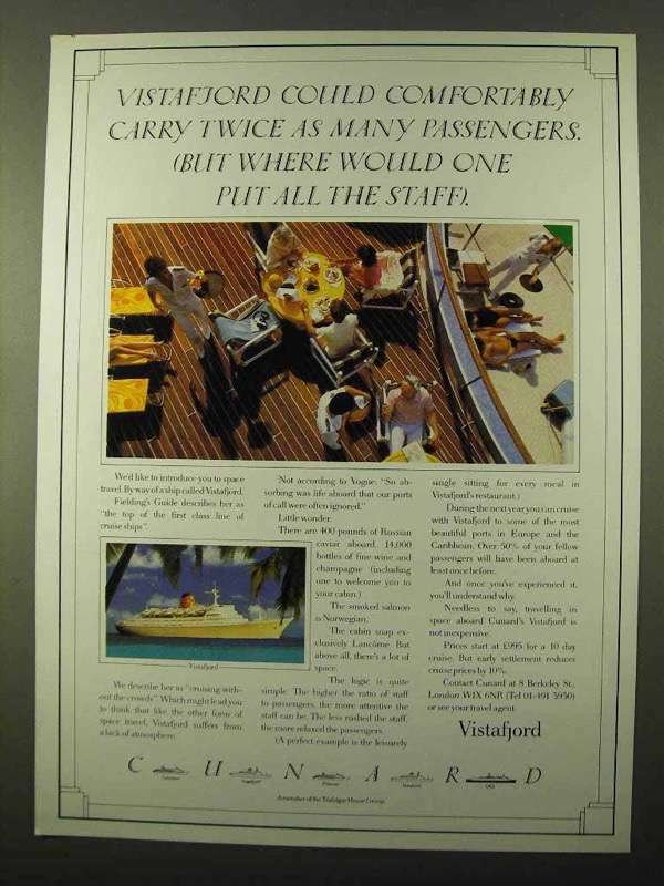 1984 Cunard Vistafjord Cruise Ad - Comfortably Carry