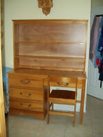 Solid Wood Desk with Hutch and Chair
