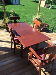 Antique table with 5 chairs