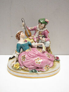 Vintage Maruyama Courting Couple Statue, Occupied Japan